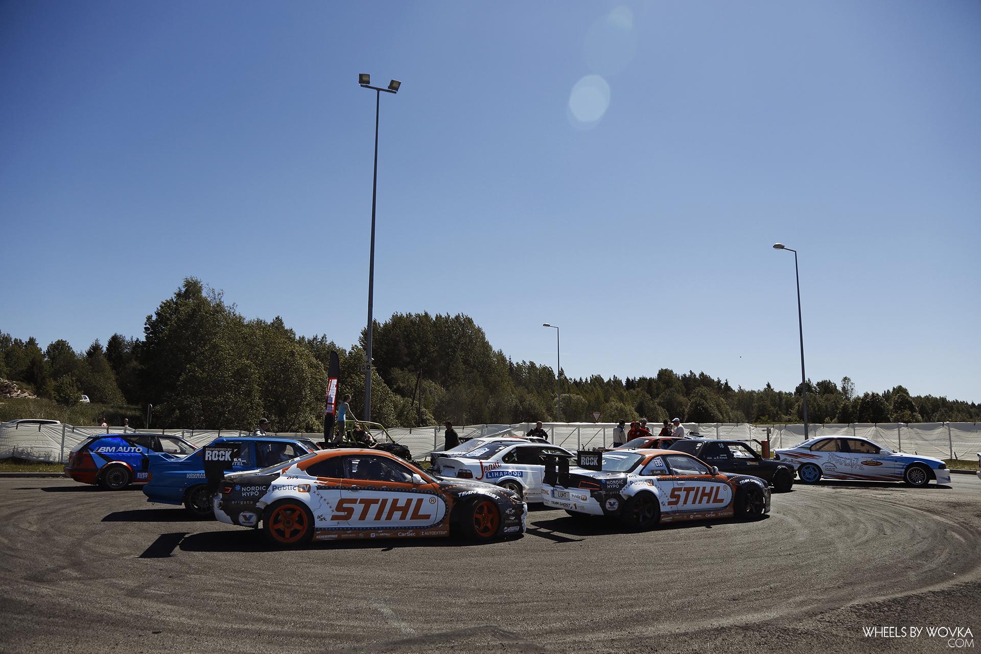 drift cars prepare for parade