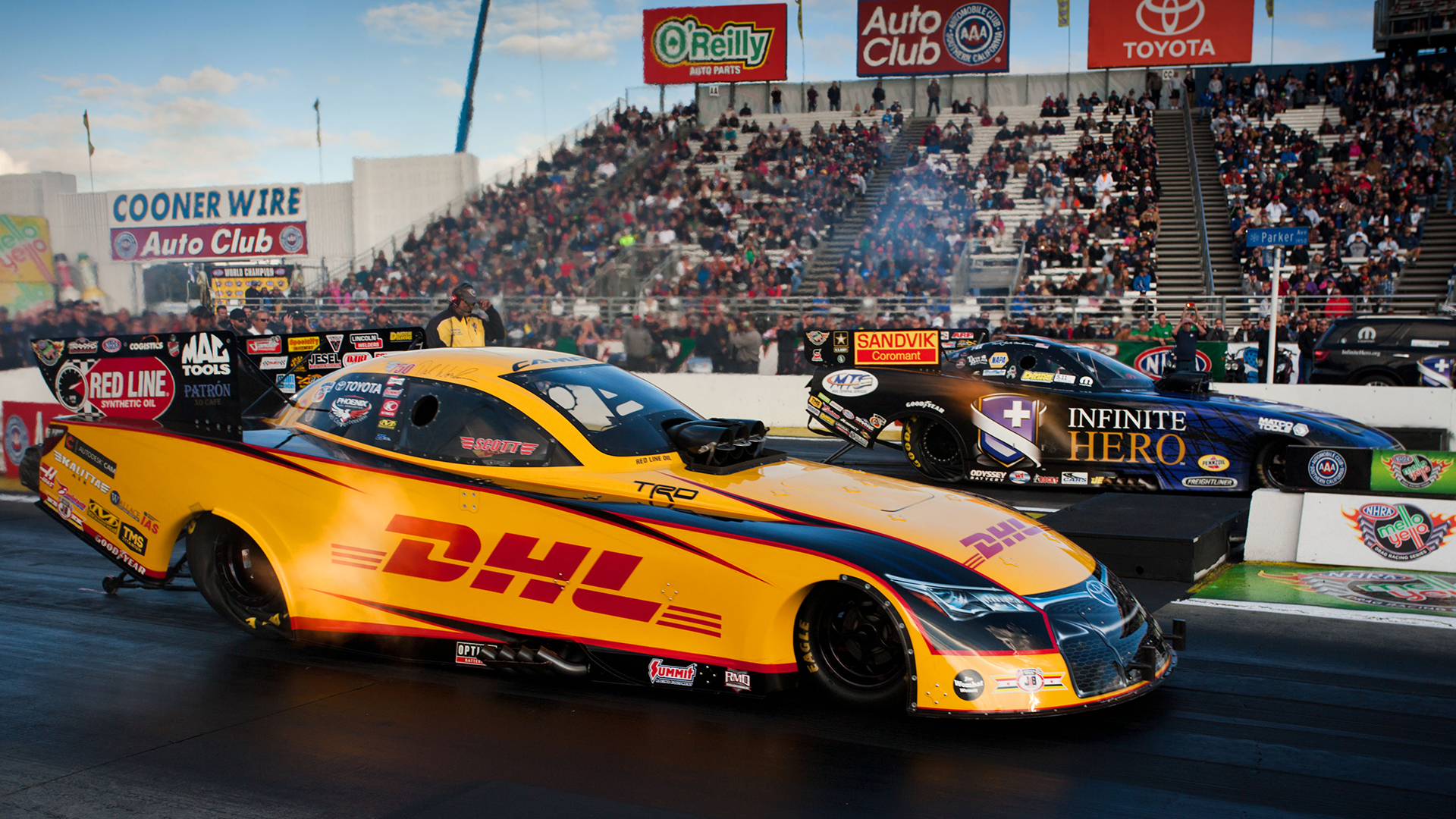 13-15 November, 2015, Pomona, California USA Del Worsham, DHL, Toyota Camry, funny car © 2015, Jason Zindroski
